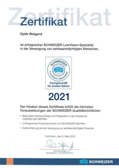 Auszeichnung Augenoptik L.Weigend